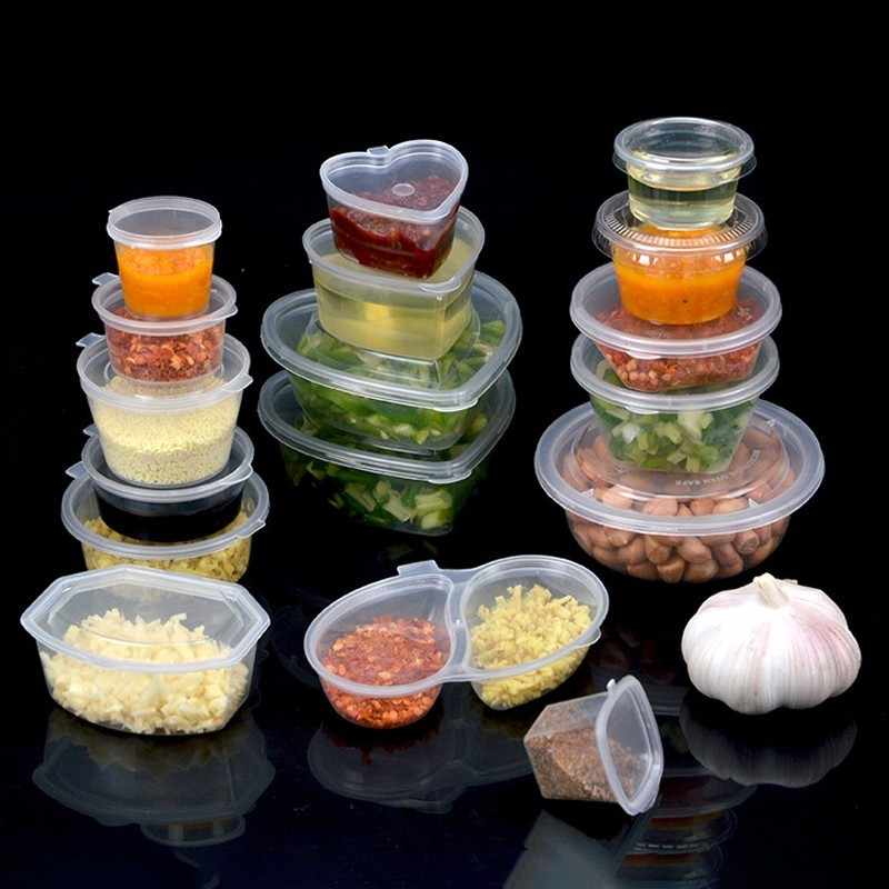 10pcs Leakproof Disposable Plastic Sauce Pot Tomato Sauce Spices Storage Container Box With Lids For Butter Kitchen Organizer