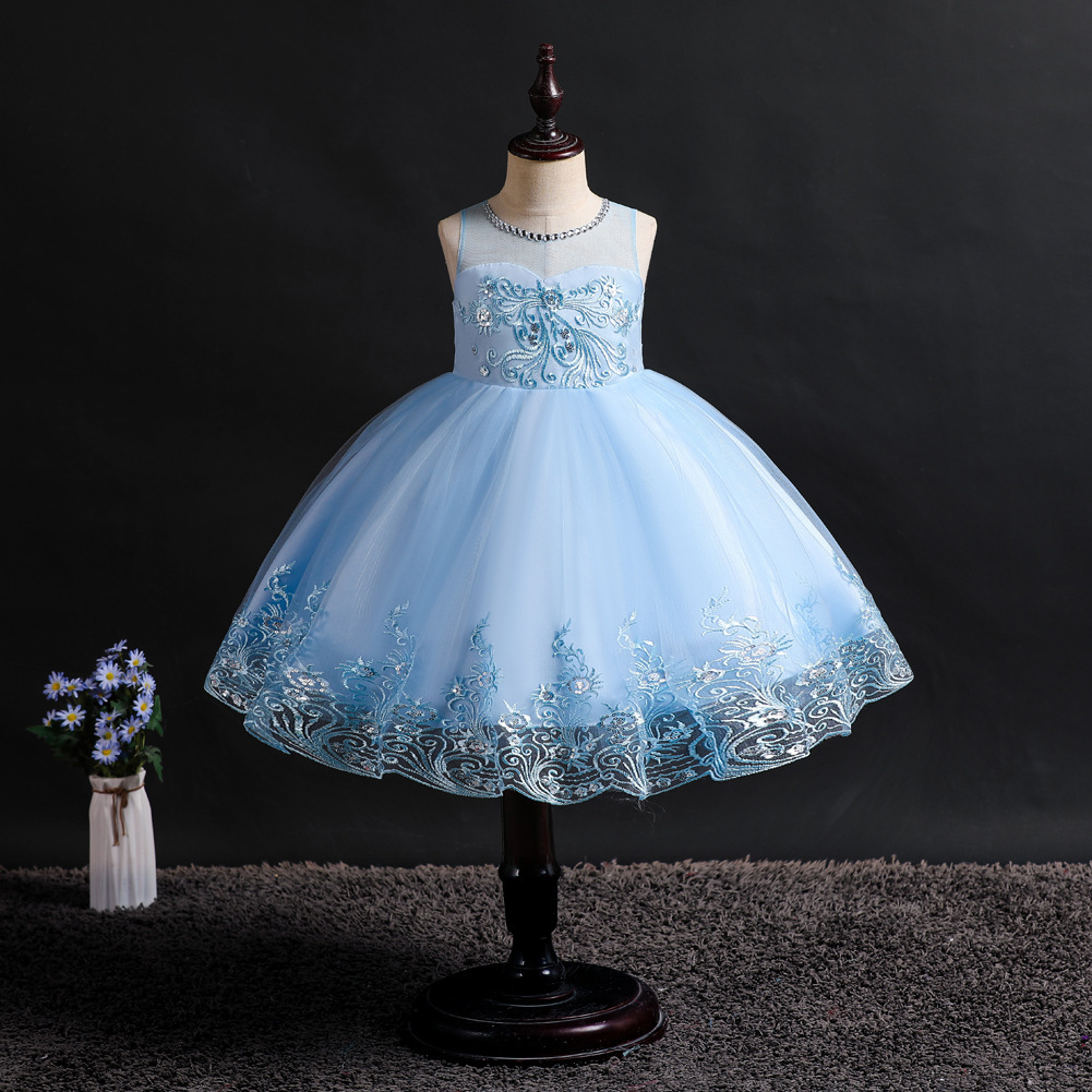 Sweetheart Lace   Flower     Girl     Dresses   Cute A-Line Sleeveless O-Neck Appliques Tulle Ball Gown 2019 Blue   Dress   for   Girl   Kids