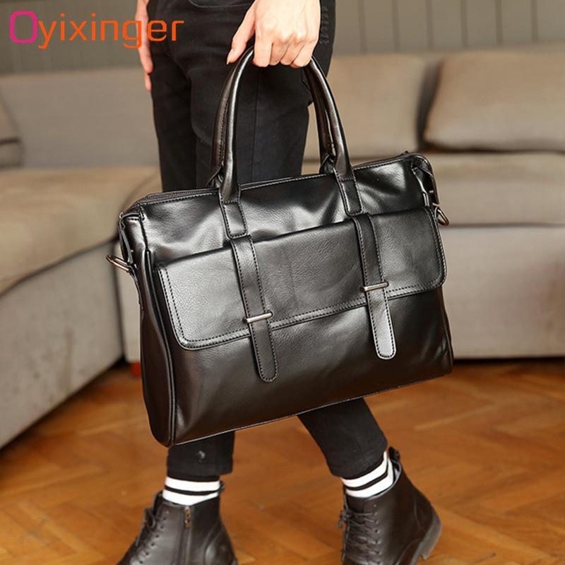 Men Bags Briefcases Fashion Men's Business Laptop Bags Black Leather Messenger Bag For Man Briefcase Male Handbag Bolso Hombre