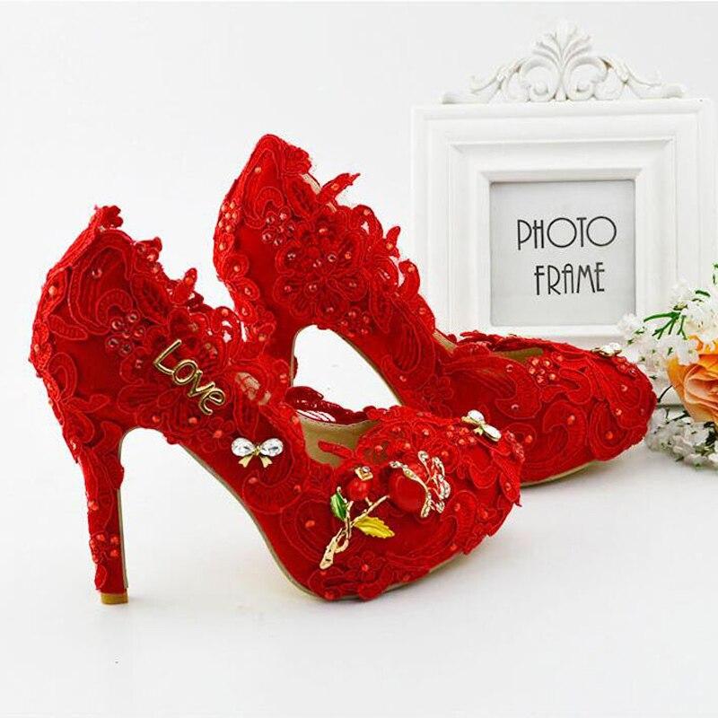 Dentelle Mariée Party Plus Hauts Rouge À forme Cm 11 11cm Mère Pompes La Artisan Robe Taille Red Heels Heels Talons Chaussures Prom white De Mariage Plate mv8n0ONwy