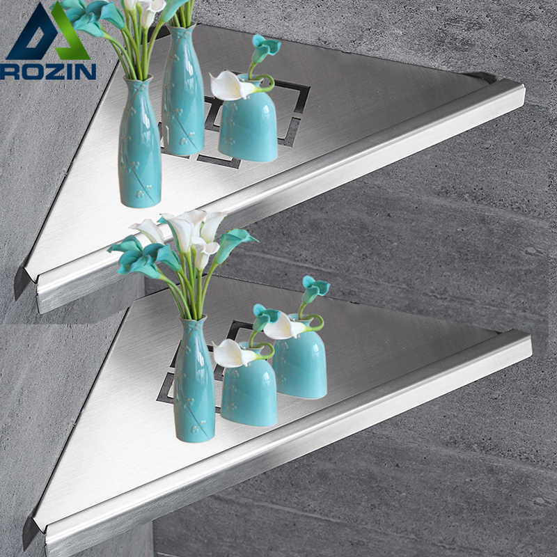 Bathroom Kitchen Storage Shelf Wall Mounted Stainless Steel Shower Caddy Rack Brushed Nickel Black Commodity Holder
