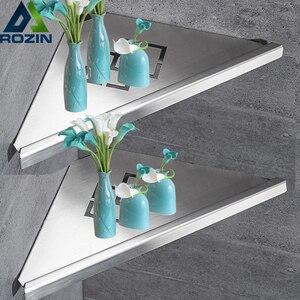 Image 1 - Bathroom Kitchen Storage Shelf Wall Mounted Stainless Steel Shower Caddy Rack Brushed Nickel Black Commodity Holder