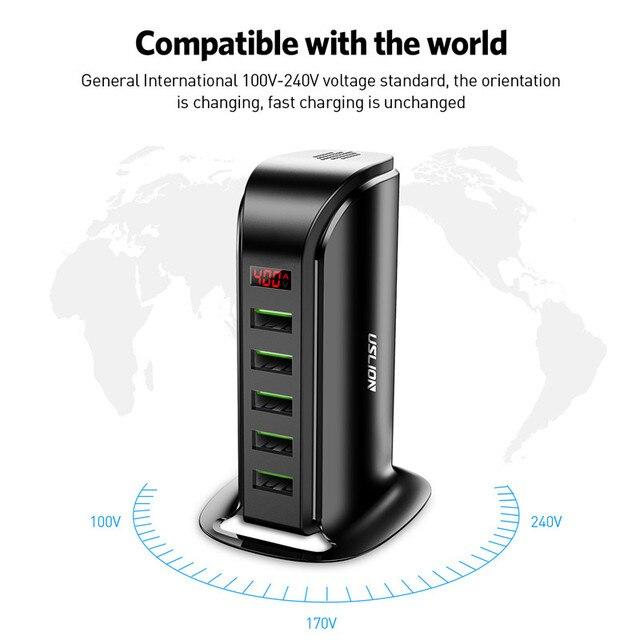 USLION 5 Port USB Charger HUB LED Display Multi USB Charging Station Dock Universal Mobile Phone Desktop Wall Home EU UK Plug 6