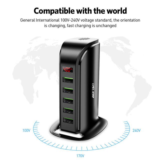 5 Port USB Charger HUB LED Display Multi Charging Station Universal Dock