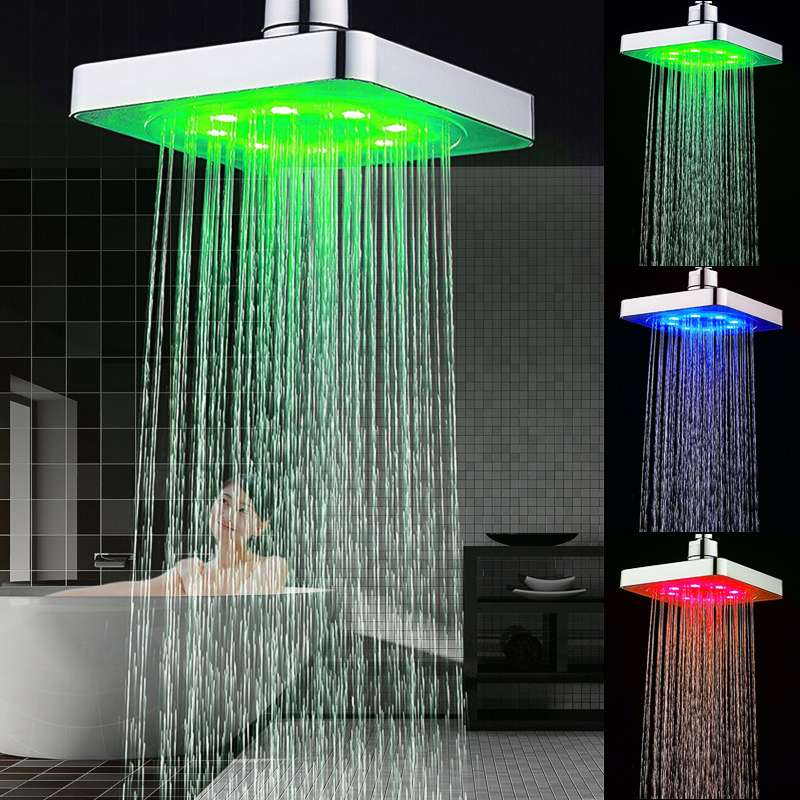 Xueqin 3Colors LED Temperature Changing Square Rainfall Shower Head Spary Light Water Sprinkler Bathroom Wall Mounted