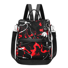 Graffiti Style WomenS Backpack Youth Bag Large Simple Oxford Cloth Backpack, Black Red