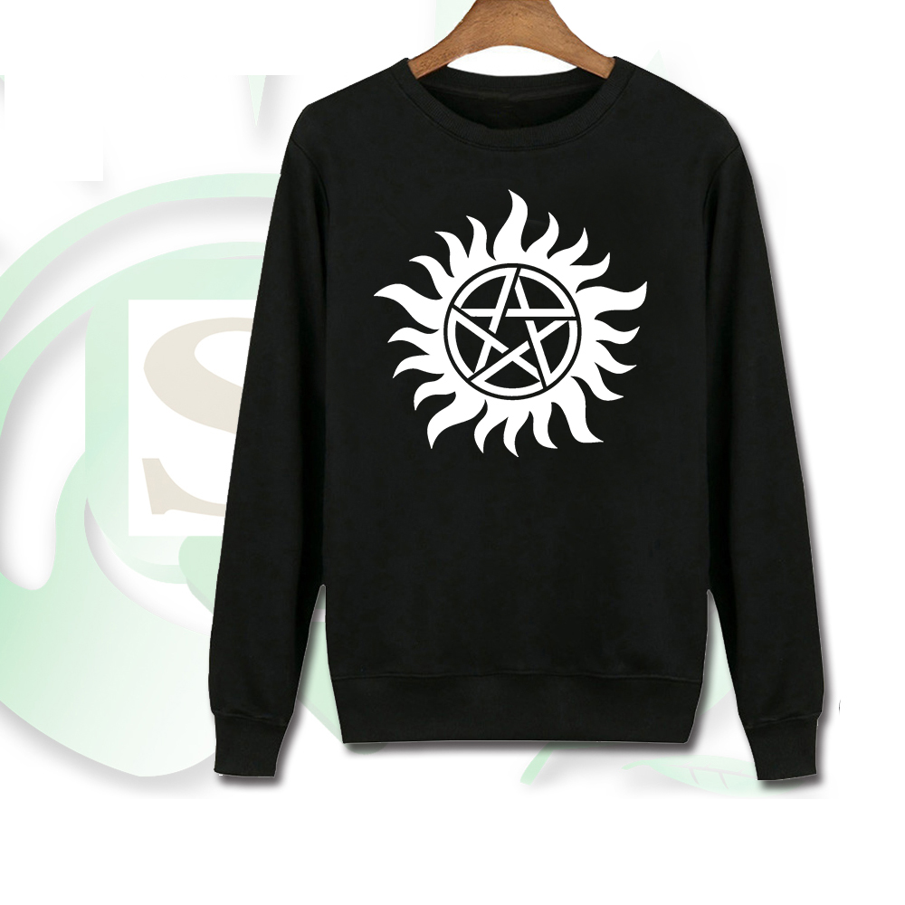Giancomics Movie Supernatural Hoodie Cotton Thin Movie LOGO Crewnecks Concise Spring Sweatshirt Black Pullover Costume Unisex
