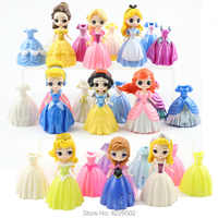 Magic Clip Princess Figures Magiclip Dress Qposket Tangled Alice Amber Tiana Dolls Elsa Anna Model set Kids Toys for Children