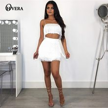d2b9f641b0 Ohvera Tassel 2 Piece Set Women Spaghetti Strap Camisoles Crop Top And High  Waist Mini Skirt Sexy Two Piece Set Summer Outfits