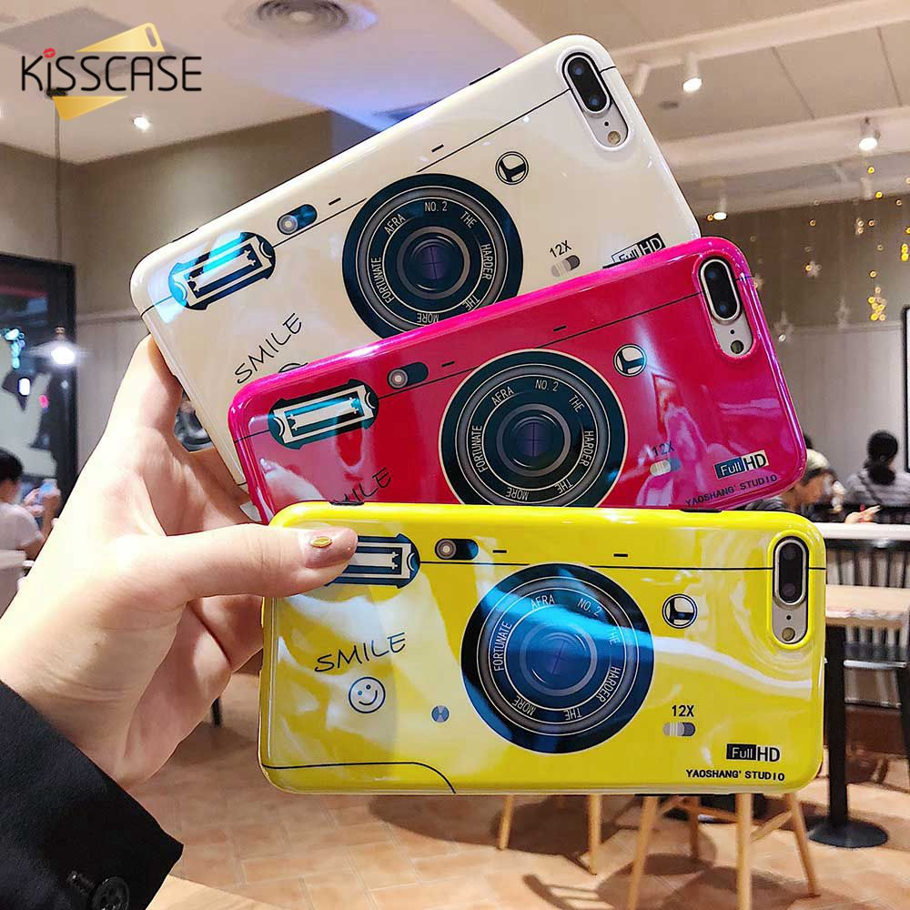 KISSCASE Buffing Camera Patterned Case For iPhone 7 8 6 6S Plus XS Max XR X Chic Cases IMD Soft TPU