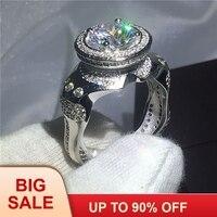 Уникальный дизайн кольцо 5A кристалл циркона 925 пробы серебро обручение обручальное кольца для вечерние Рождественский подарок