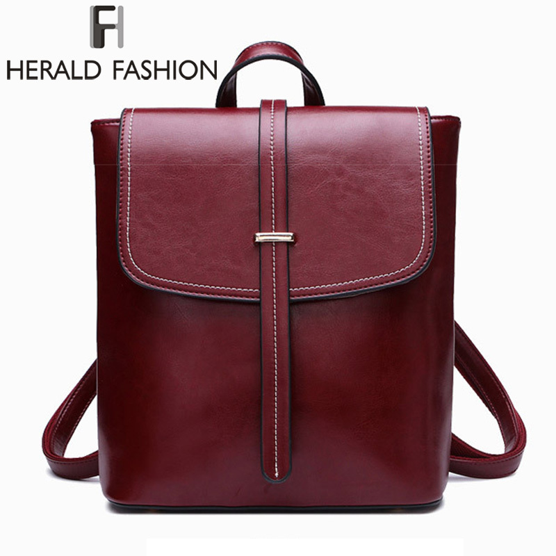 HERALD FASHION Genuine Leather Women Backpack Vintage College School Backpack For Teenage Girl Female Natural Leather Backpack