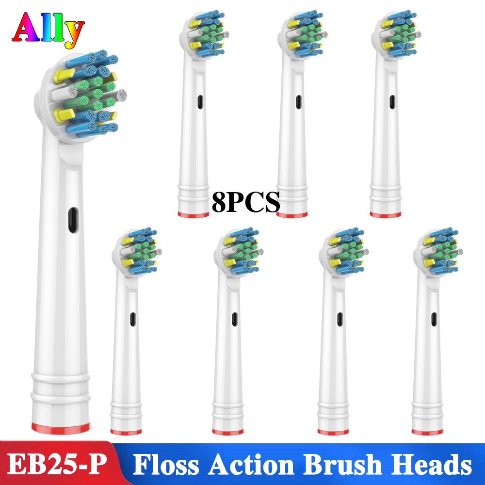 8PCS EB25 For Oral B Floss Action with Bacteria Guard Bristles Replacement Brush Heads For Braun Oral B Triumph Vitality D12 D168PCS EB25 For Oral B Floss Action with Bacteria Guard Bristles Replacement Brush Heads For Braun Oral B Triumph Vitality D12 D16