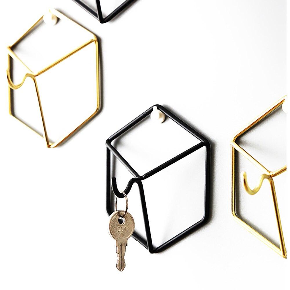 Nordic Style Hexagon Design Gold Iron Art Storage Hook Minimalist Wall Key Holder Room Organizer Home Decor