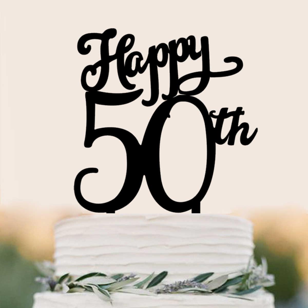 Happy 50th Birthday Cake Topper Acrylic Decoration Black