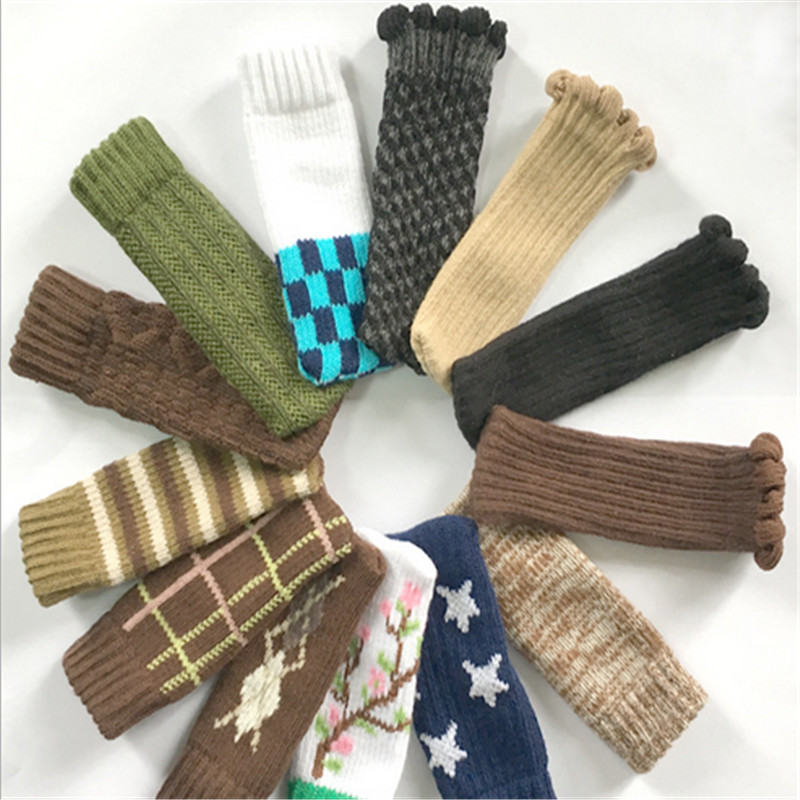 4pcs Cherry Chair Leg Socks Home Textile Leg Floor Protectors Non-slip Table Legs Sleeve Striped Chair Cover Foot Knitting Socks