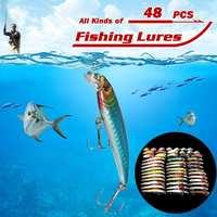 48pcs Minnow Lures Crankbaits Artificial Hard Lure Bait Bass Mixed Fishing Lure Set Kit Carp Fishing Tackle Winter Ice Fish Lure