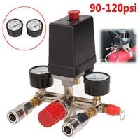 90~120 PSI 240V Air Compressor Pressure Valve Switch Manifold Relief Regulator Gauges 17x15.5x19cm Manifold Regulator,
