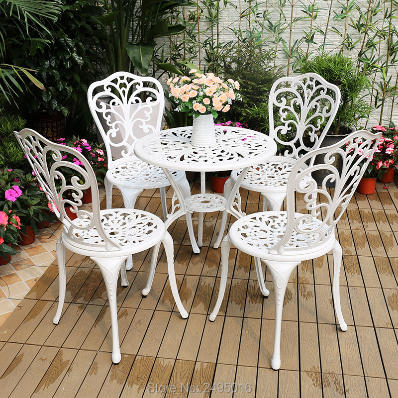 5pcs Set Patio Furniture Modern Design Cast Aluminum