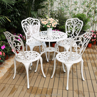 set of 5pcs Cast Aluminum garden furniture dining set 4 chairs with table 23.6 inch with butterfly design( white,black ,bronze)