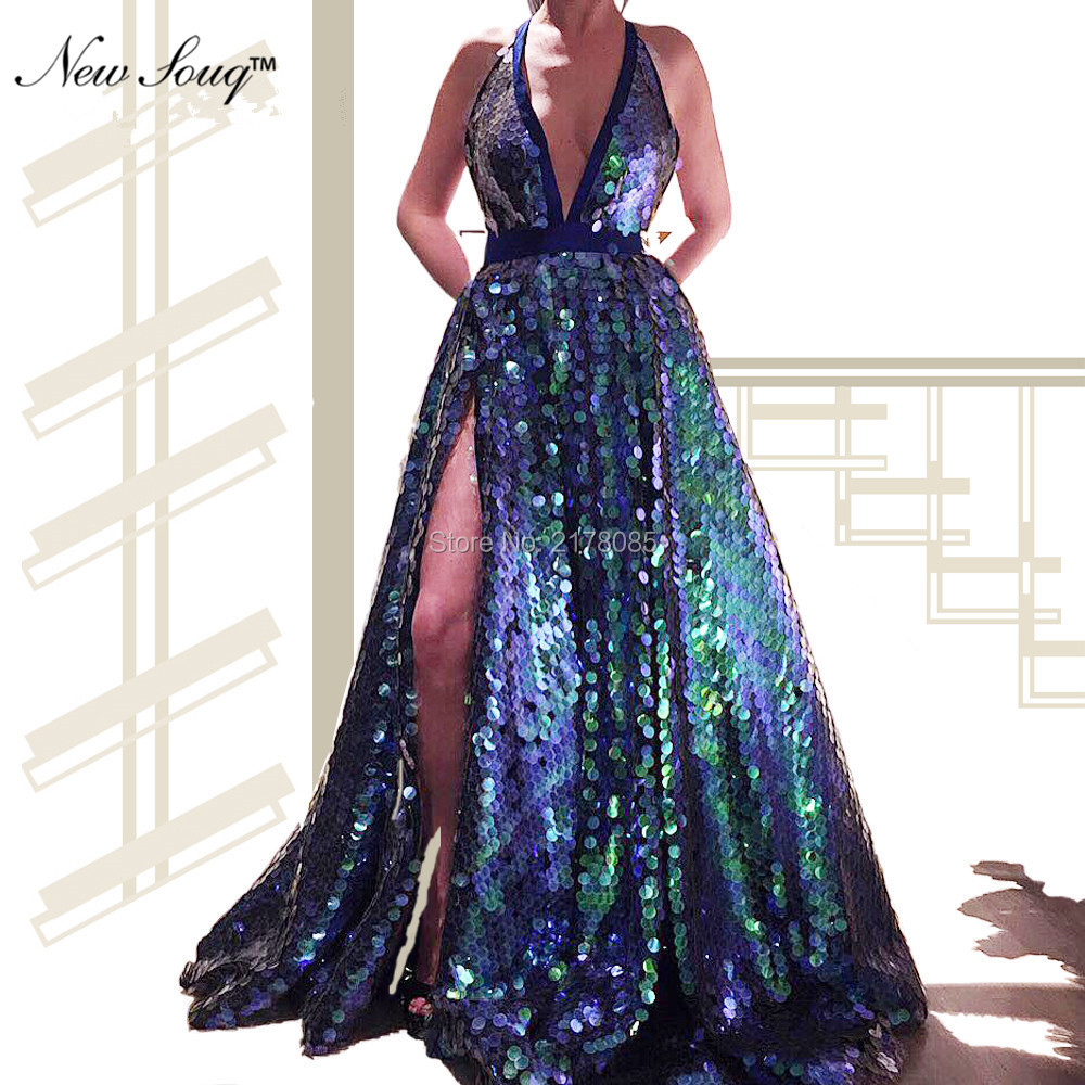 Sequin Evening   Dress   African Reflective Party   Dress   2019 Hot Sexy High Split Side Long   Prom     Dresses   Robe De Soiree Kaftan Gowns
