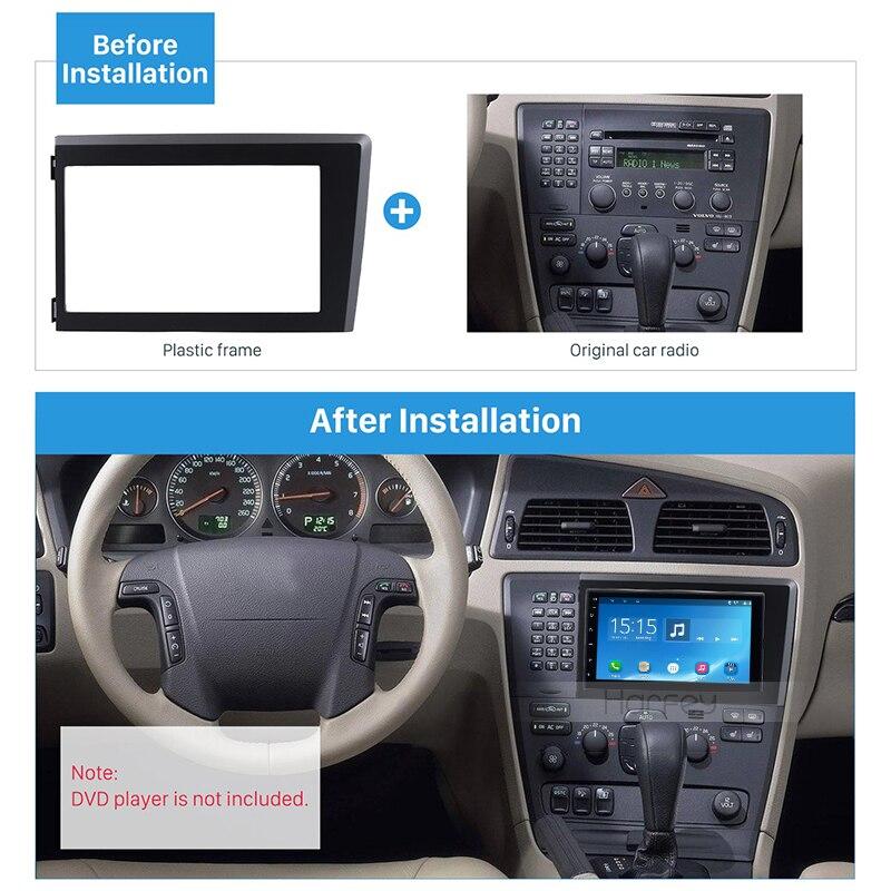 Harfey Car 2Din Auto Radio Frame Fascia Plate Trim Kit For Volvo XC70 V70 S60 1998-2004 Stereo Panel Dash Install Kit 173*98mm