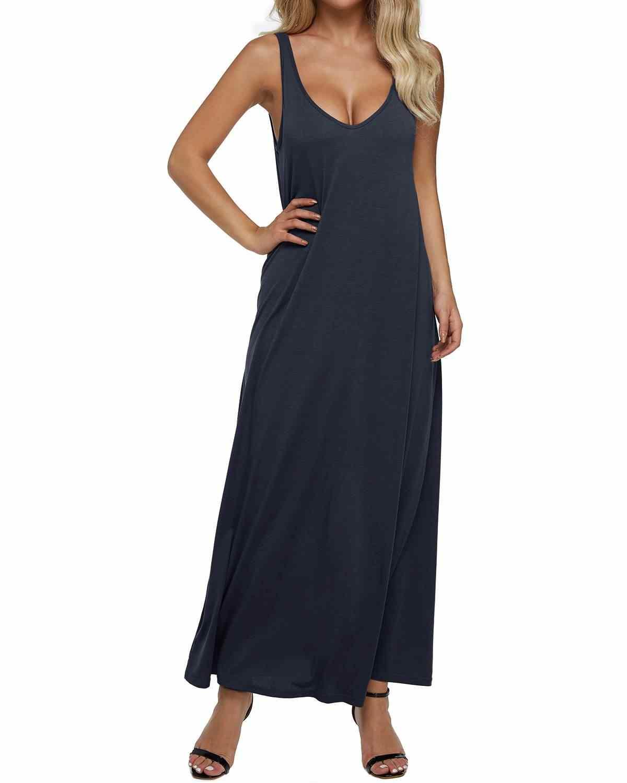 2019 для женщин V средства ухода за кожей шеи длинное платье пикантные повседневное Свободные Твердые без рукавов с открытой спиной летнее макси Танк вечеринка