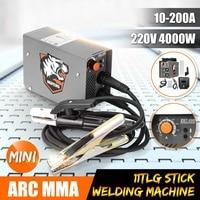 ZX7 200 220V 10 200A 4000W Handheld Mini MMA Electric Stick Welder Inverter ARC Welding Machine Metalworking Welding Tools