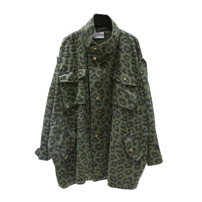 Manches Twotwinstyle À Léopard Montant Armygreen Imprimé Col Printemps Femmes Cordon Pour De Mode Longues Harajuku Base Vestes 2019 Femme Manteaux xvC5qxzw