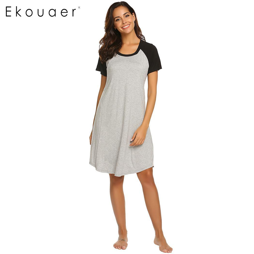 Ekouaer Women Summer   Nightgown     Sleepshirts   Casual O-Neck Short Sleeve Breastfeeding Nightdress Nightwear Loose Night Dress