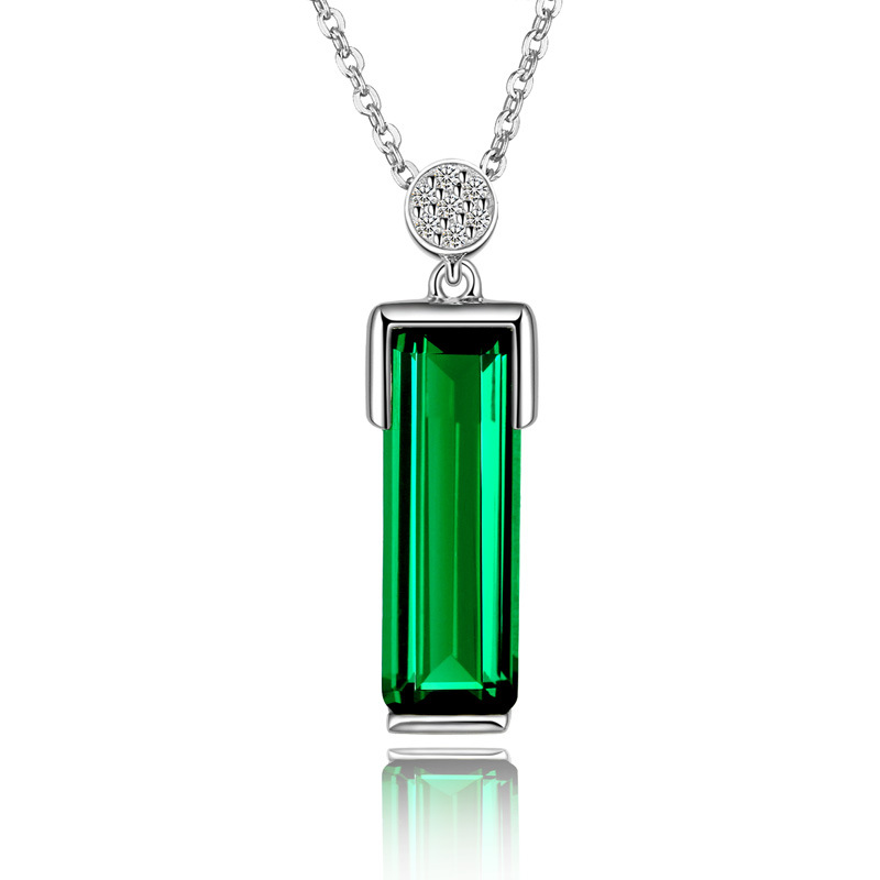 Emerald Pendant 925 Silver-Color Green Jewelry Bizuteria Necklace Pendant For Woman Peridot Jade Silver S925 Gemstone Pendant