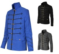 Hot Man Daily Jacket The Medieval Times Style Stand Collar Solid Embroidery Buttons Coat Man Causal Spring Autumn Coat All Sizes