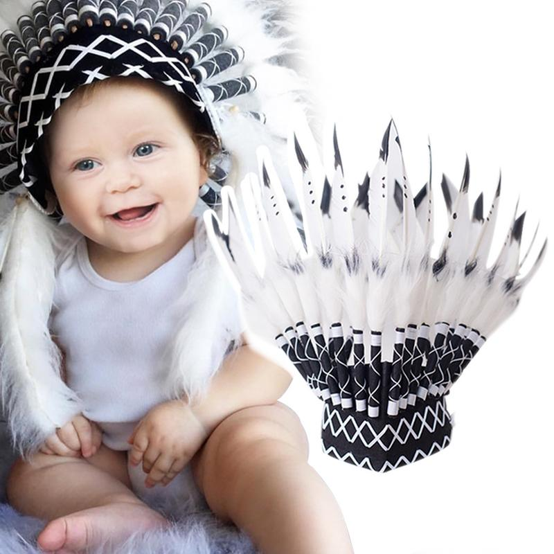 Creative Indian Style Headband Child Feather Flower Headdress Party Hat Baby Photo Props Decoration Garland Hair Accessories