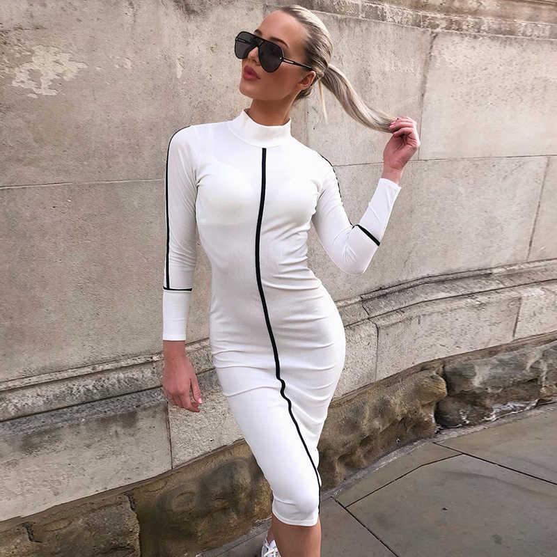 Женское платье-футляр NewAsia Garden, соблазнительное длинное платье с длинными рукавами и контрастными полосами, повседневное элегантное платье с высоким воротником, цвет розовый/черный, осень 2019