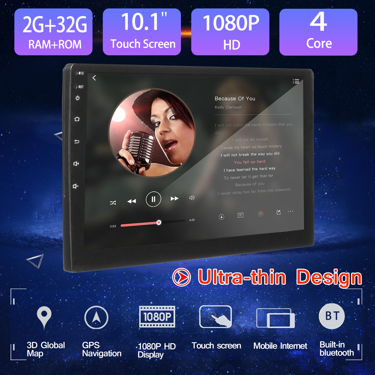"2G+32G 10.1"" Car Multimedia Player Radio GPS for Android 7.1 HD 2 din Navigation Audio bluetooth WIFI Stereo Car MP5 Player"