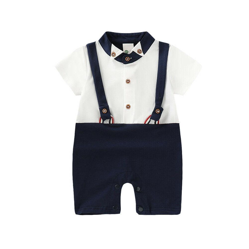 Little Gentleman Infant Newborn Baby Boy Clothes Short Sleeve Kids Boys Romper Jumpsuit One Pieces Summer Clothes