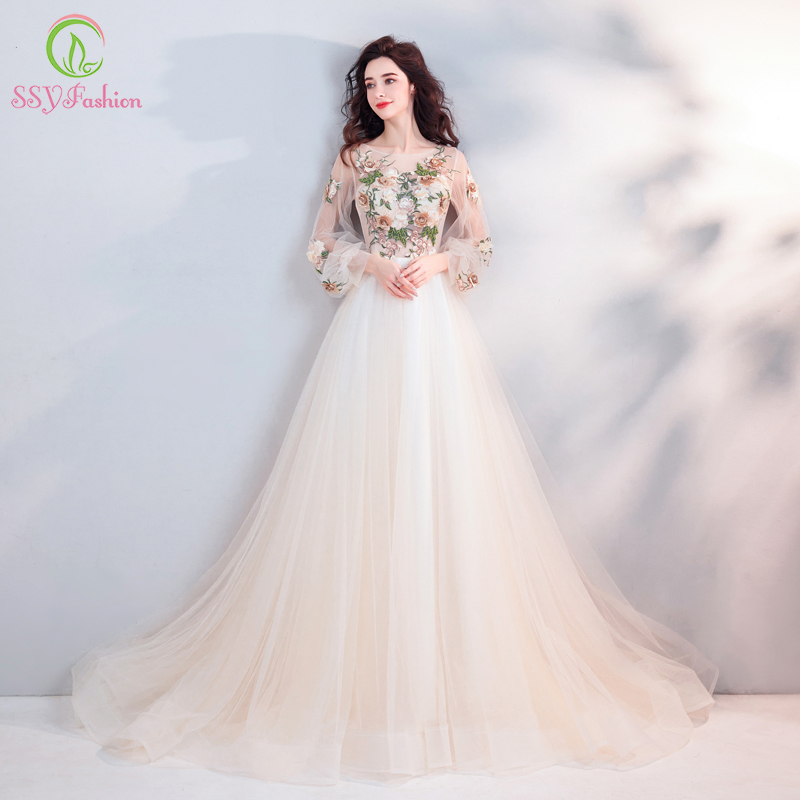 SSYFashion 2019 New Beautiful Evening Dress Light Champagne Long Sleeve Lace Appliques Formal Party Prom Gown Robe De Soiree