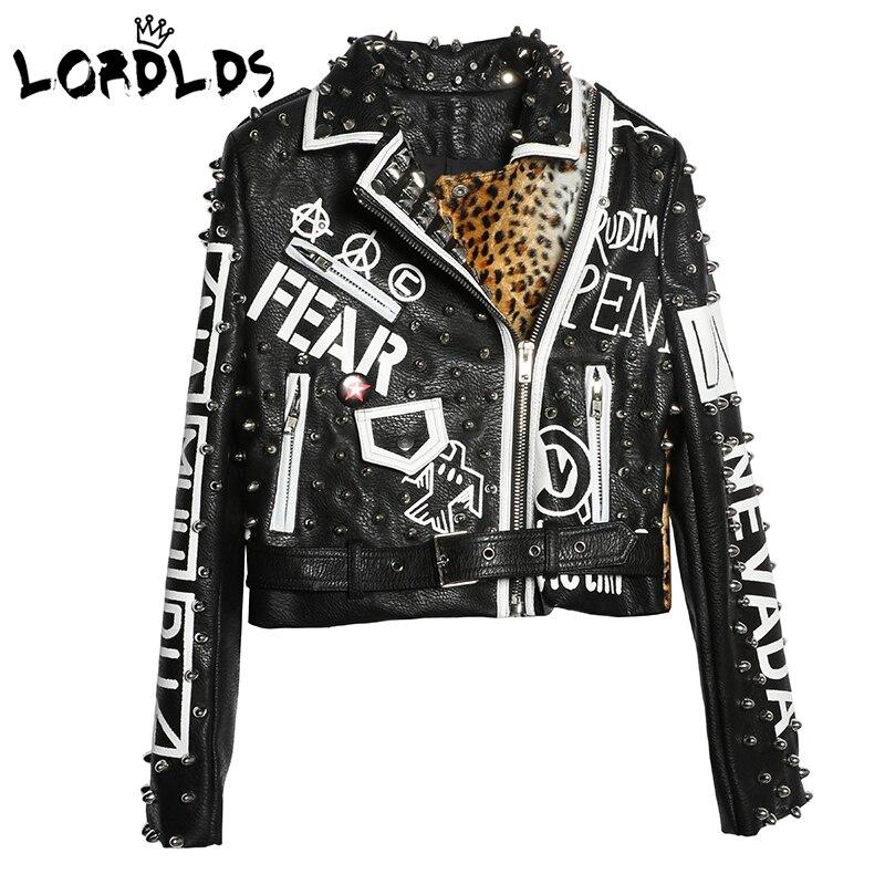 LORDXX черная леопардовая кожаная куртка женская 2018 осень зима мода отложной воротник панк-рок шипованные куртки женские пальто