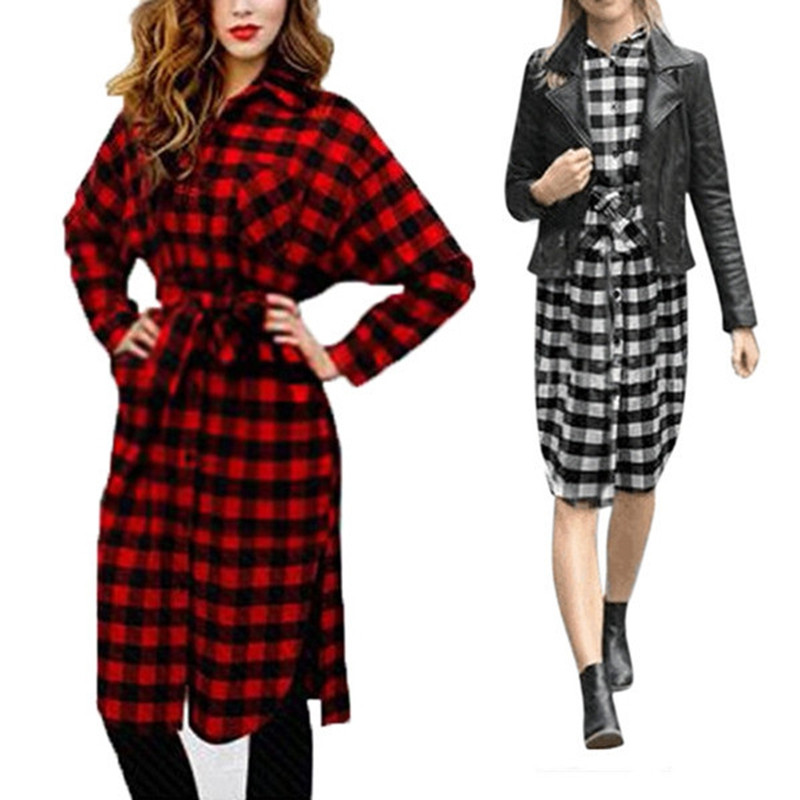 12cd0557d8 Celmia Women Vintage Check Plaid Knee-Length Dress 2019 Autumn Casual Loose  Long Sleeve Lapel Belt Long Shirt Flannel Vestidos