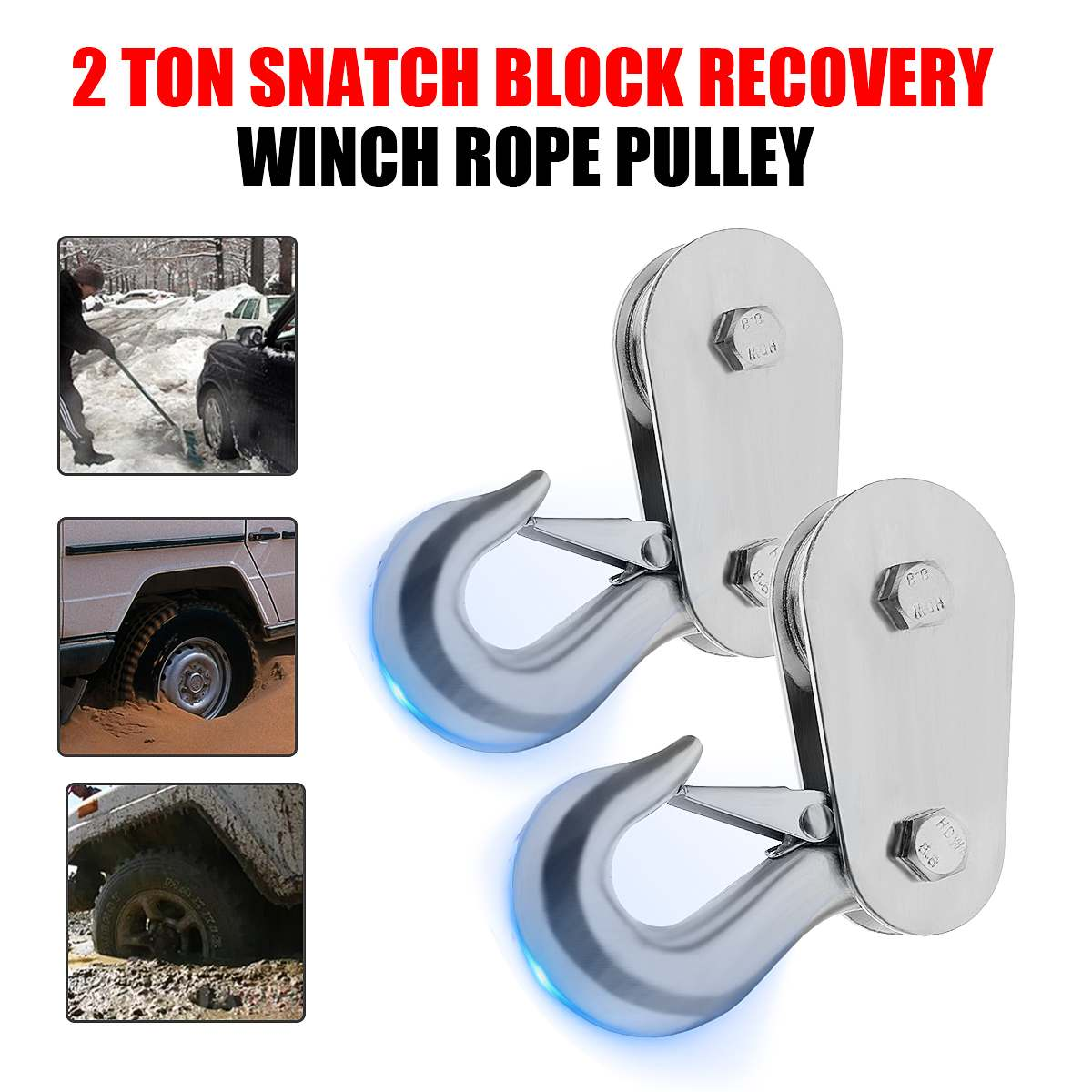 Autoleader Heavy 4Types 2 4 8 10 Ton Tonne Snatch Block Pulley Capacity Recovery Winch Pulley Durable Black Powder Coated Heavy