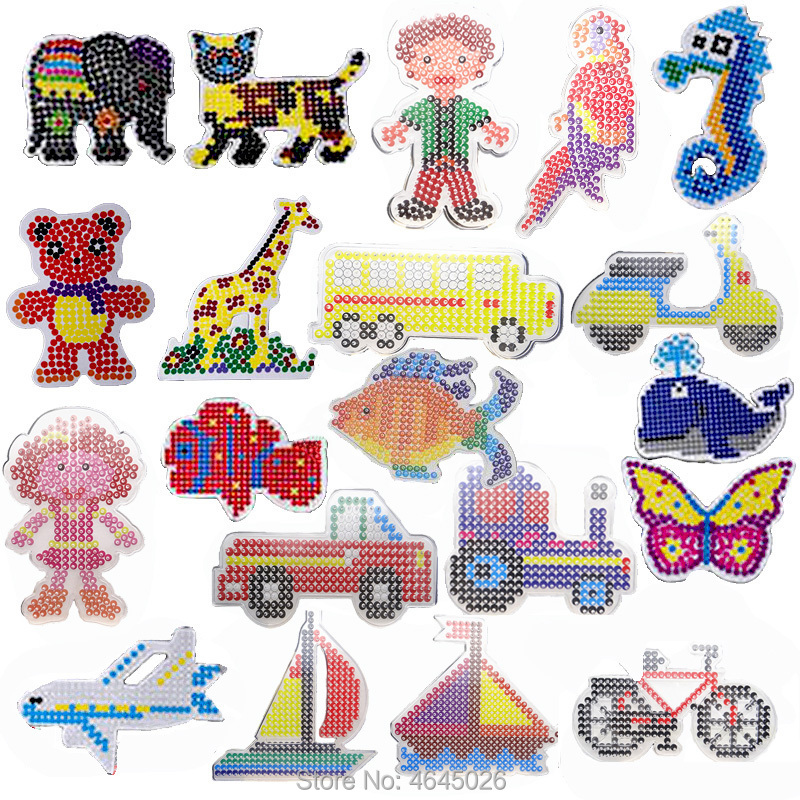 10pcs DIY Pegboards Perle Hama 5mm Ironing Beads Peg Boards Patterns Arts Crafts Girls Gift Kids Educational Toys For Children