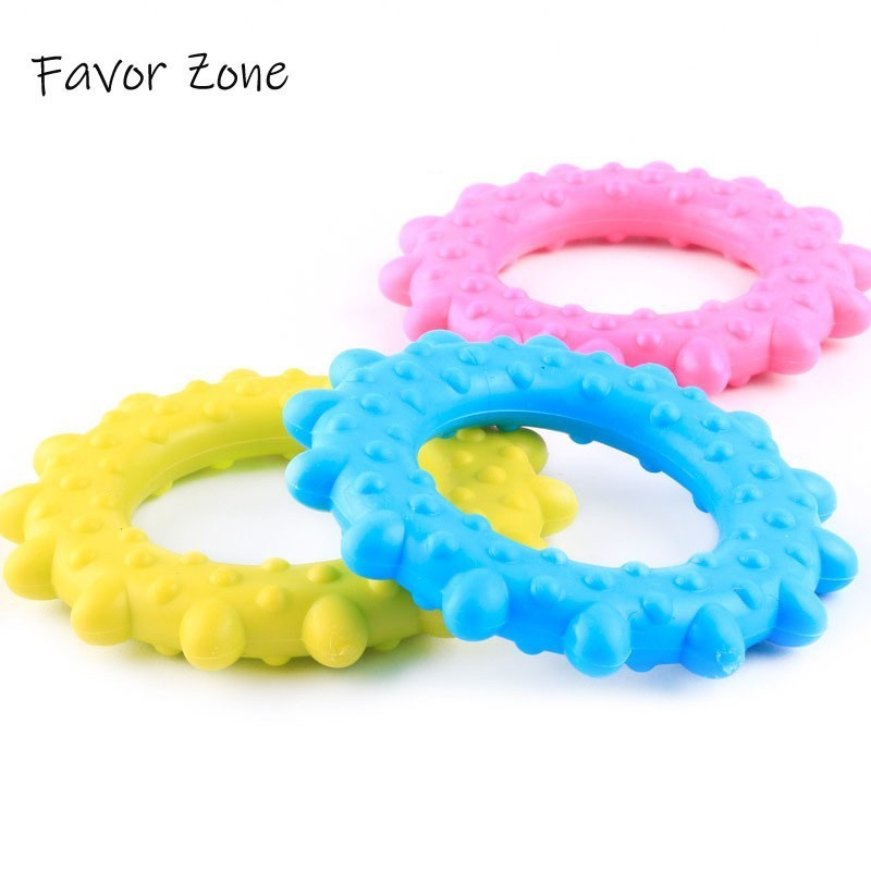 Dog Toy New Rubber Chew Sun Circle Teething Training Cleaning Molar Toy Dog Puppy Interactive Toys Natural Non toxic Pet Product in Dog Toys from Home Garden