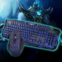 цены на J60 Wired USA English Language Gaming Keyboard Mouse Set Three-Color Backlight Crack Keyboard + Colorful Backlight Cracked Mouse