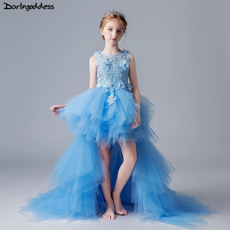 2019   Flower     Girl     Dresses   for Weddings High Low Blue First Communion   Dresses   for   Girls   Kids Ball Gown Puffy Lace Pageant   Dress