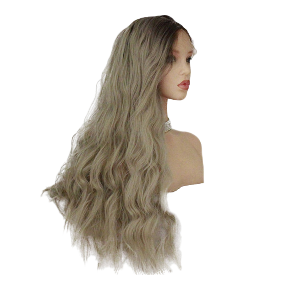 26 inch Natural Long Wave Synthetic Wig Front Lace Fluffy Wavy Wig Heat Safe Wigs Brown Gray