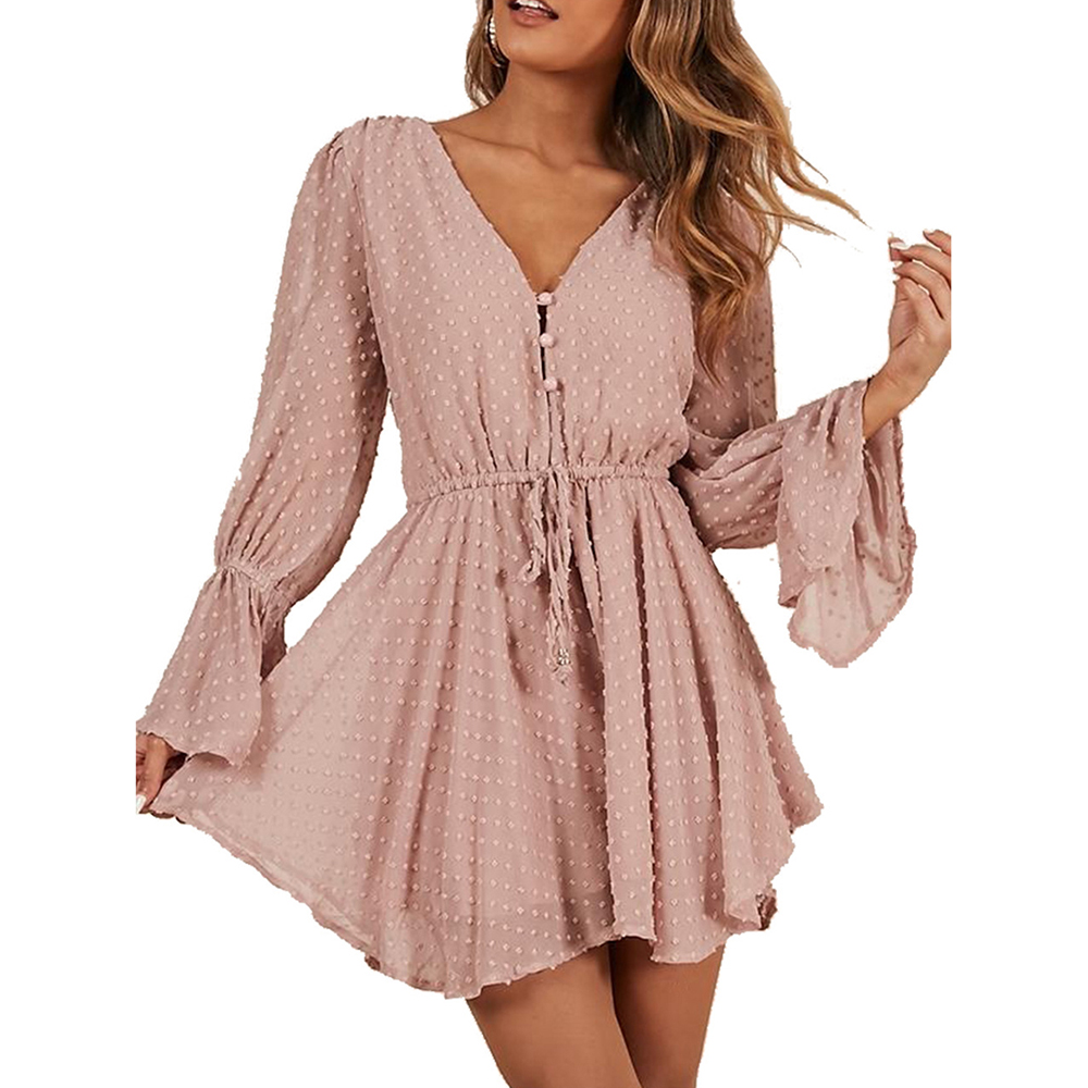 Sovalro Women Jumpsuit Summer Sexy V Neck Horn Sleeve Long Sleeve Romper Short Playsuit Button Drawstring Casual Female Romper