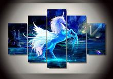 Modern Decorative Picture Printed Pictures Unicorn Horse Group Painting Room Decor Print Poster Canvas Modular