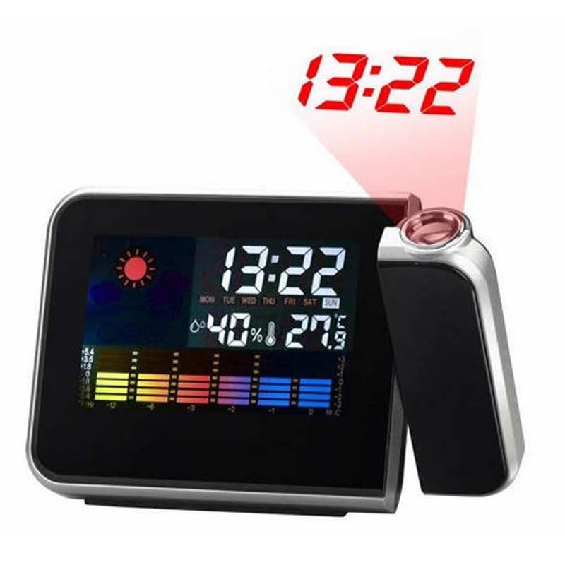 New LED Backlight Digital Weather Projection Alarm Clock Weather Forecast Station DC120
