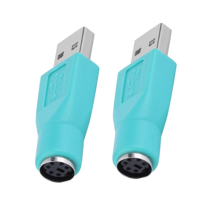 2pcs USB 2.0 Male To For PS2 PS/2 Female Converter Adapter For PS2 Computer PC Laptop Keyboard Mouse Cable Connector Adapter