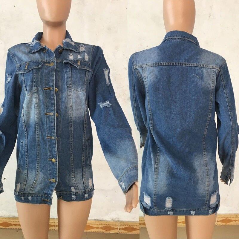 Women/'s Hole Patch Denim Ripped Jeans Distressed Denim Long Jacket Coat Outwear